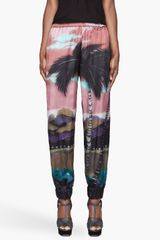 Lanvin Rose Pink Tropical Print Silk Lounge Pants