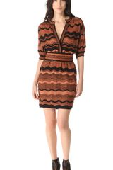 M Missoni Zigzag Wave Stripe Belted Dress - Lyst