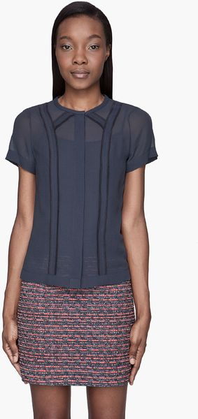 Marc By Marc Jacobs Navy Crystal Textured Silk Blouse - Lyst