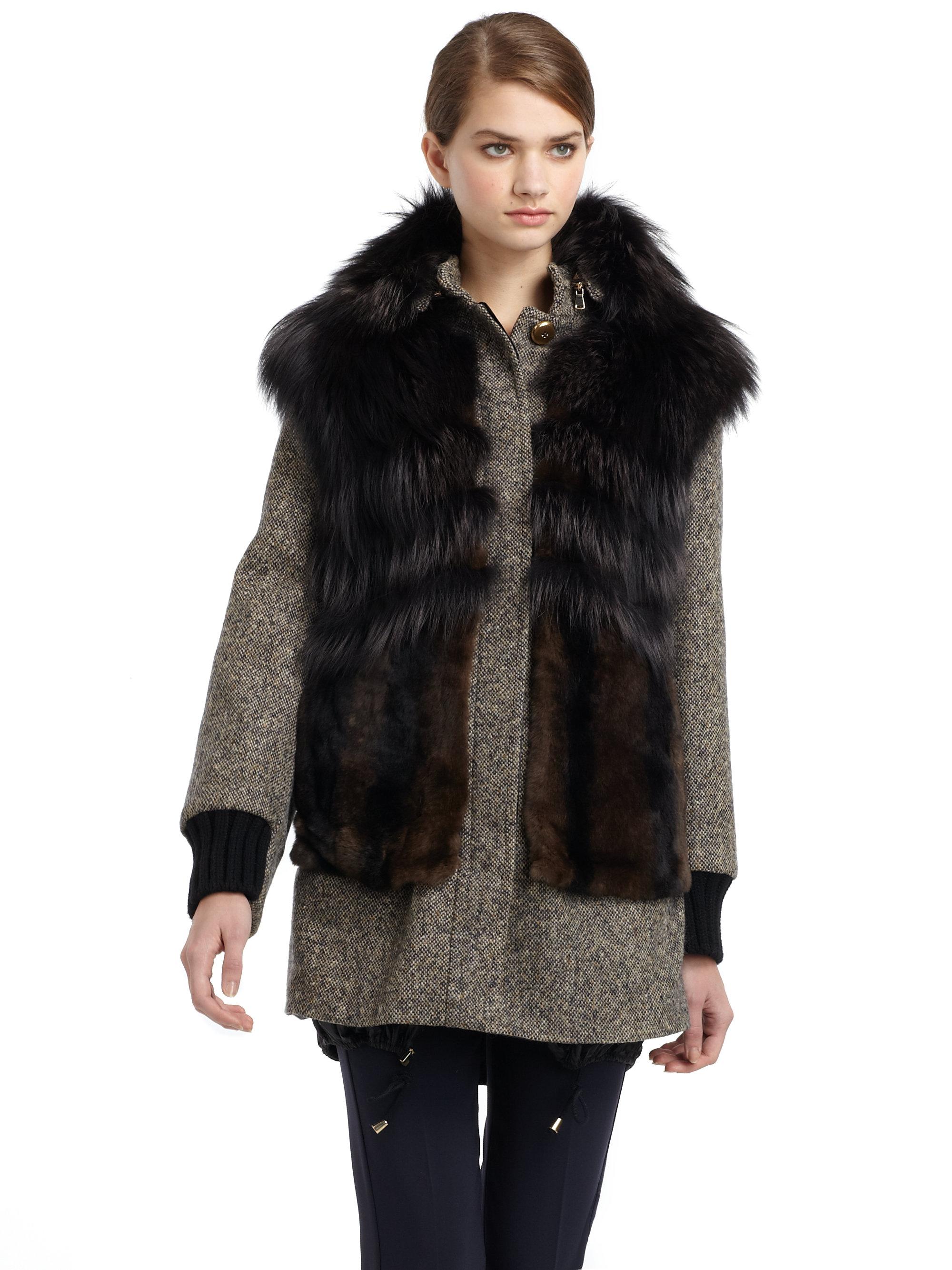 Max mara Lembo Rabbit Fur Wool Tweed Coat in Green | Lyst