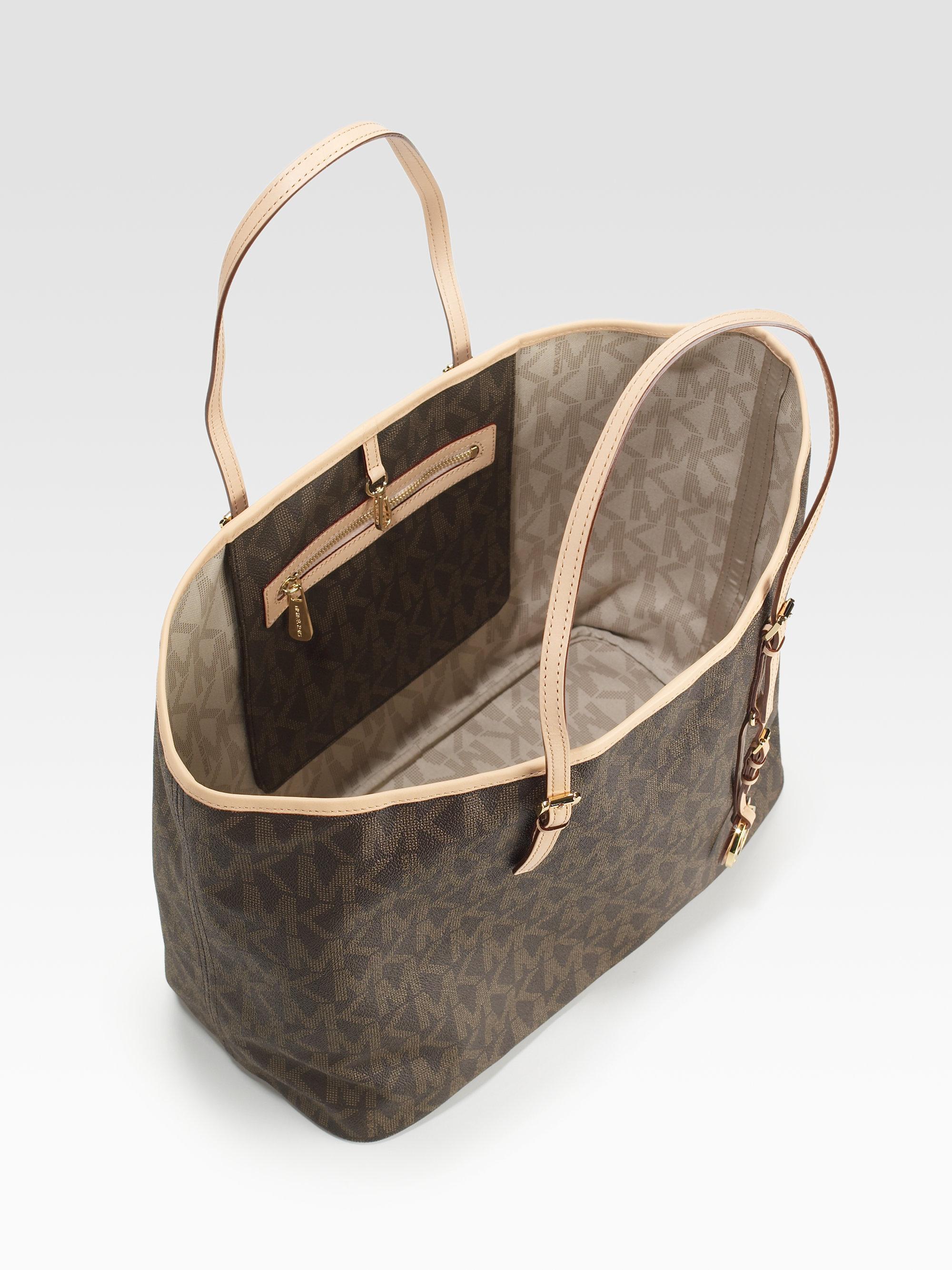 83ee1047643 Lyst - MICHAEL Michael Kors Jet Set Medium Canvas Leather Travel Bag ...