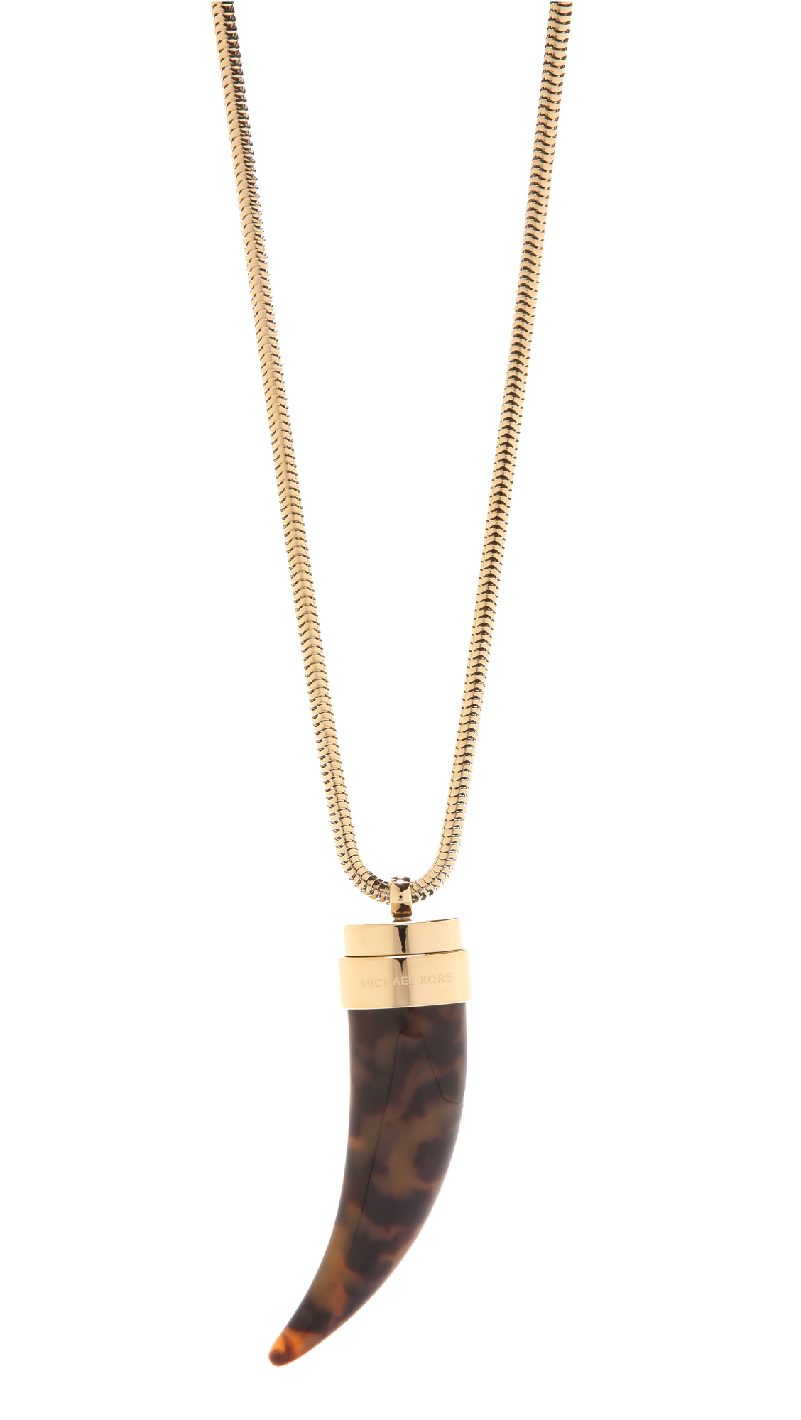 Lyst - Michael Kors Tortoise Horn Pendant Necklace in Black