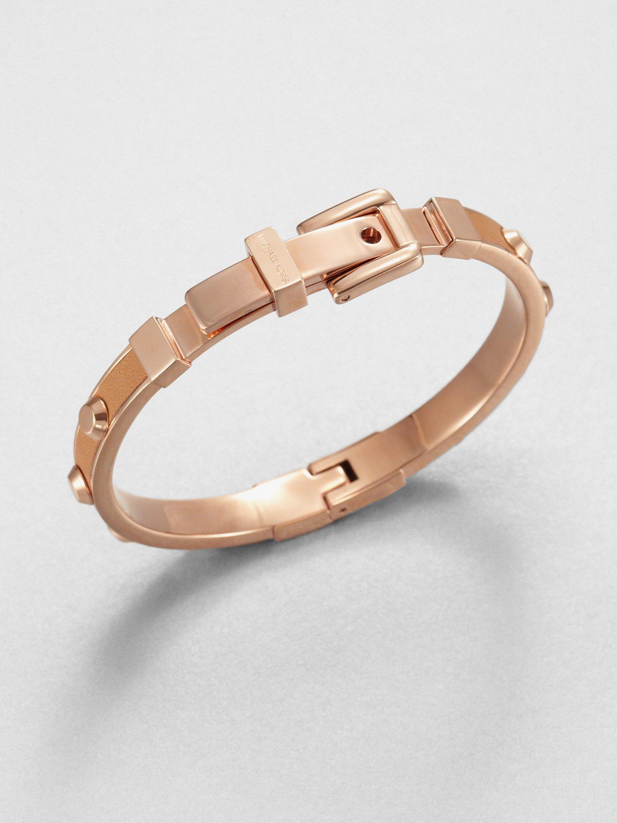 michael kors studded leather inset bangle bracelet tan in. Black Bedroom Furniture Sets. Home Design Ideas