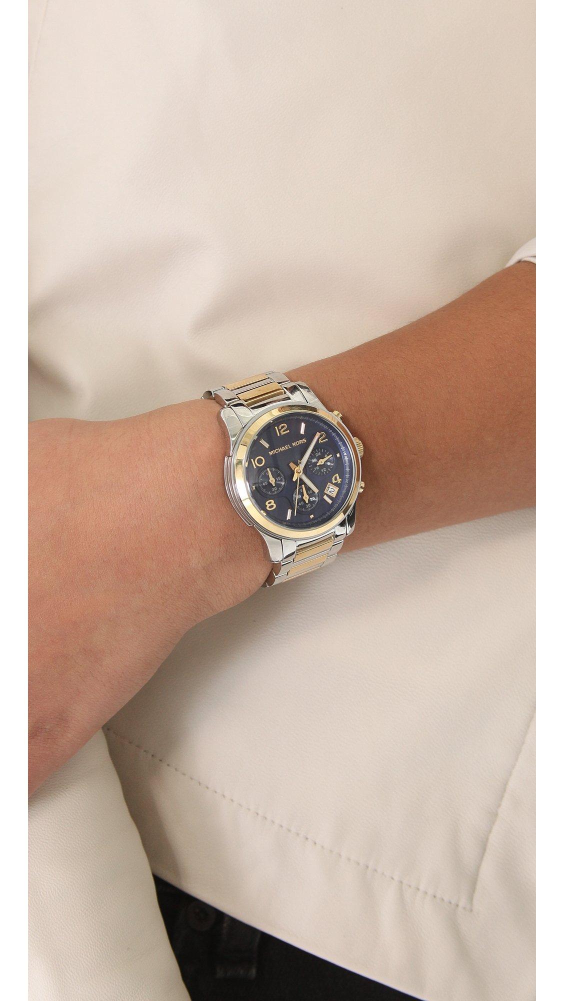 6b18a34eeadb Lyst - Michael Kors Two Tone Runway Watch in Metallic