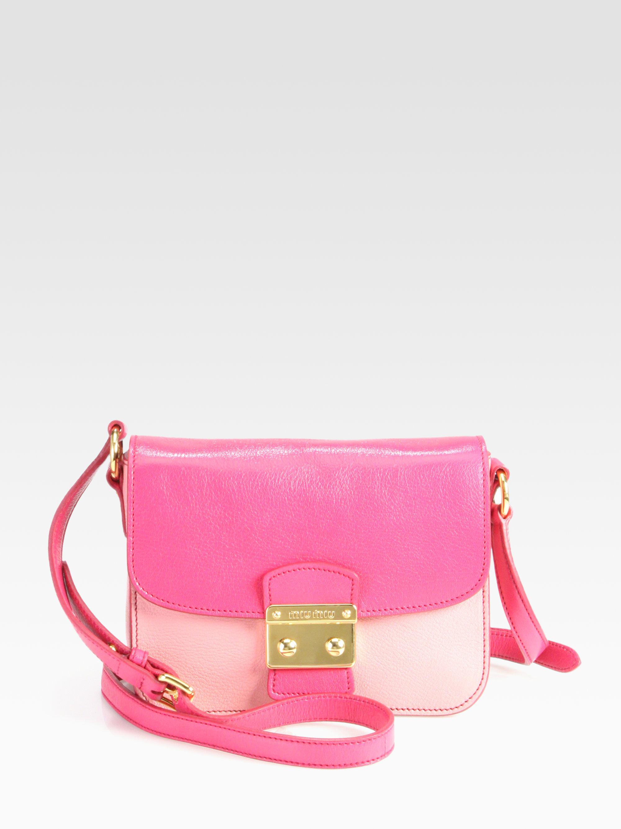 Miu miu Madras Bicolor Bauletto Frame Crossbody in Pink (marea+ ...