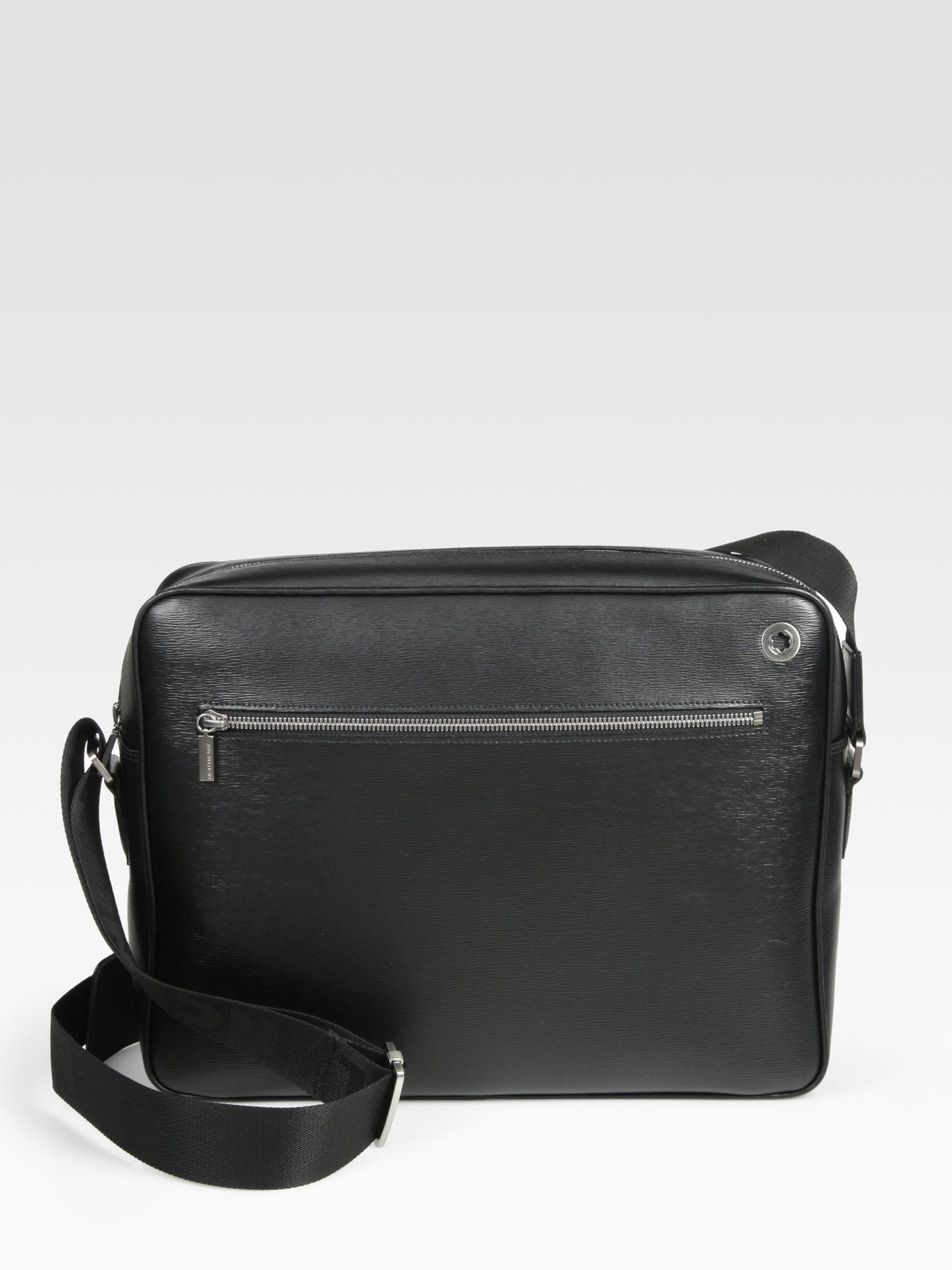 Lyst Montblanc Leather City Bag In Black For Men