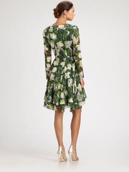 Oscar De La Renta Floral Silk Dress in Green (evergreen) - Lyst
