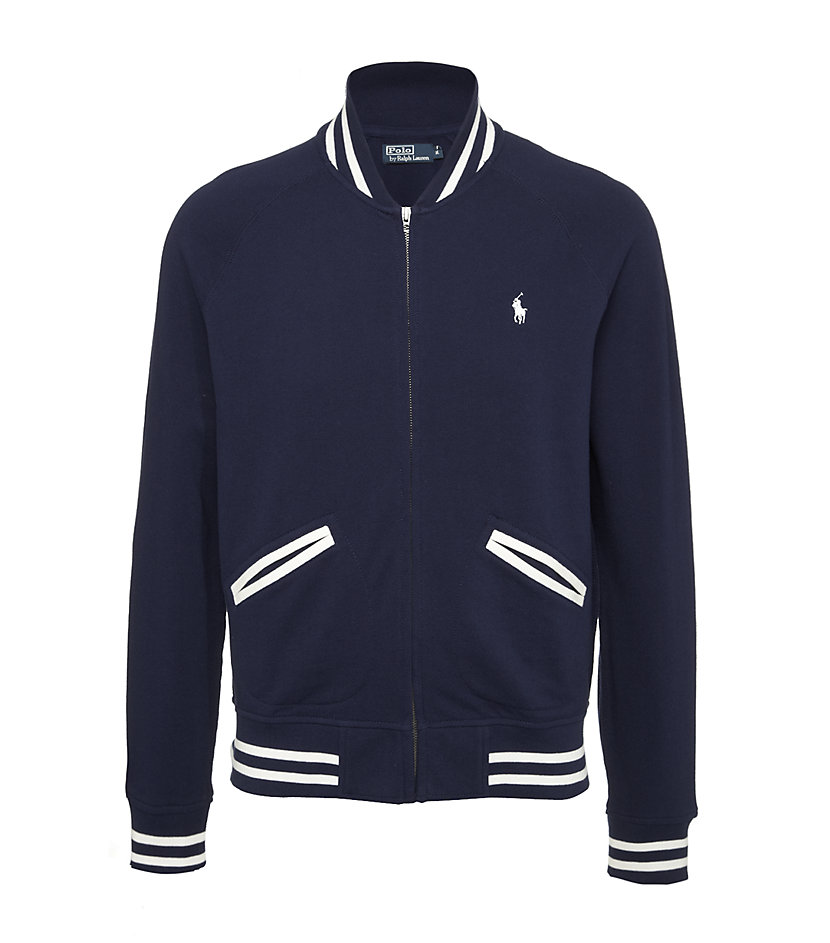 polo ralph lauren baseball jacket in white for men navy. Black Bedroom Furniture Sets. Home Design Ideas