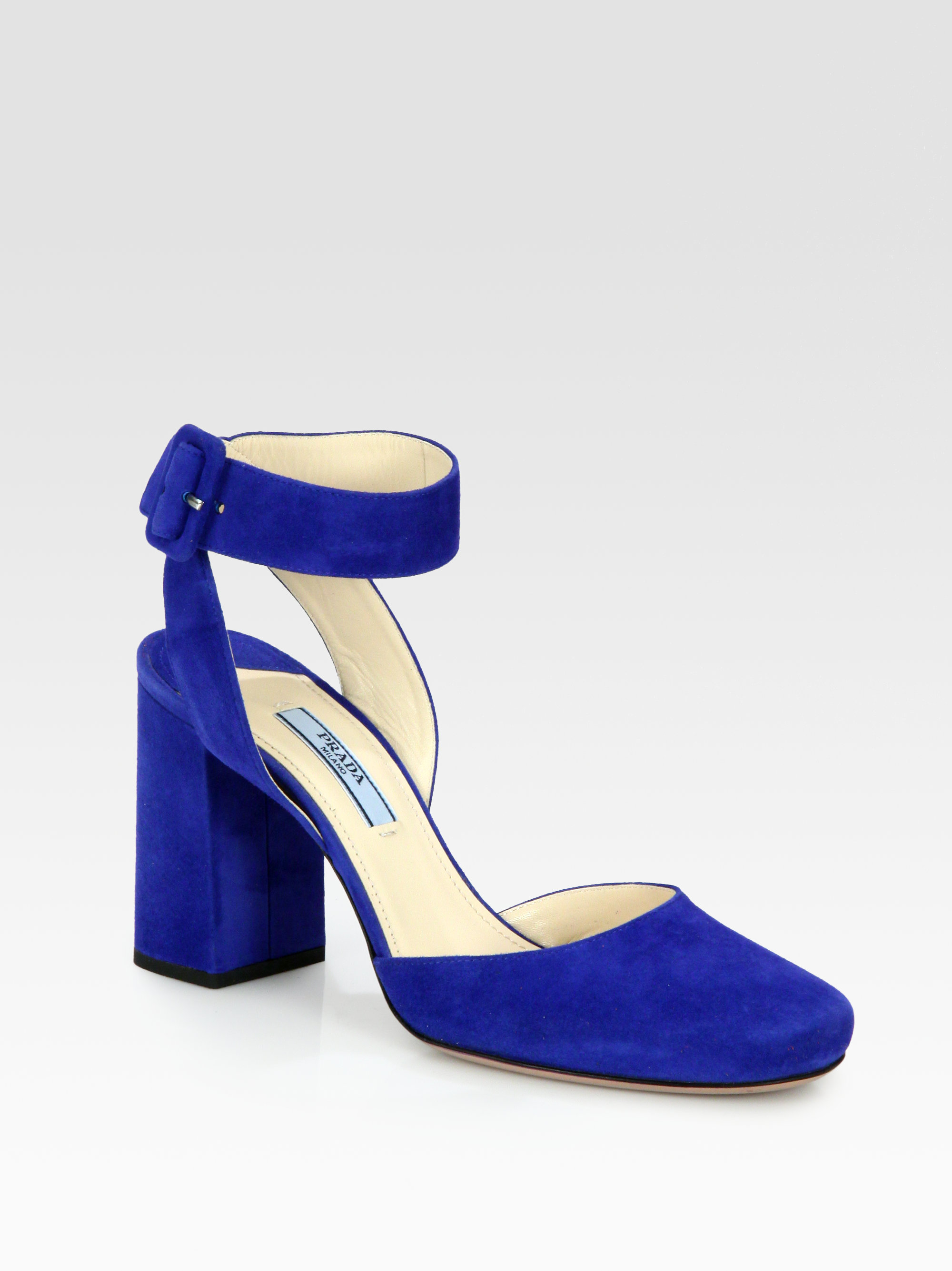 Lyst Prada Suede Ankle Strap Pumps In Blue