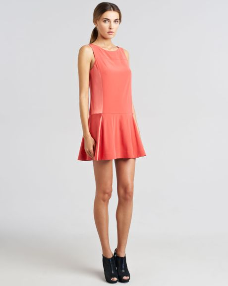 Rag & Bone Sofia Bifabric Flounce Dress in Orange (coral)