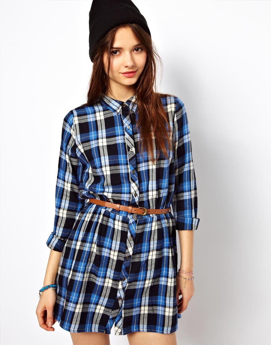 Lyst River Island Chelsea Girl Check Shirt Dress In Blue