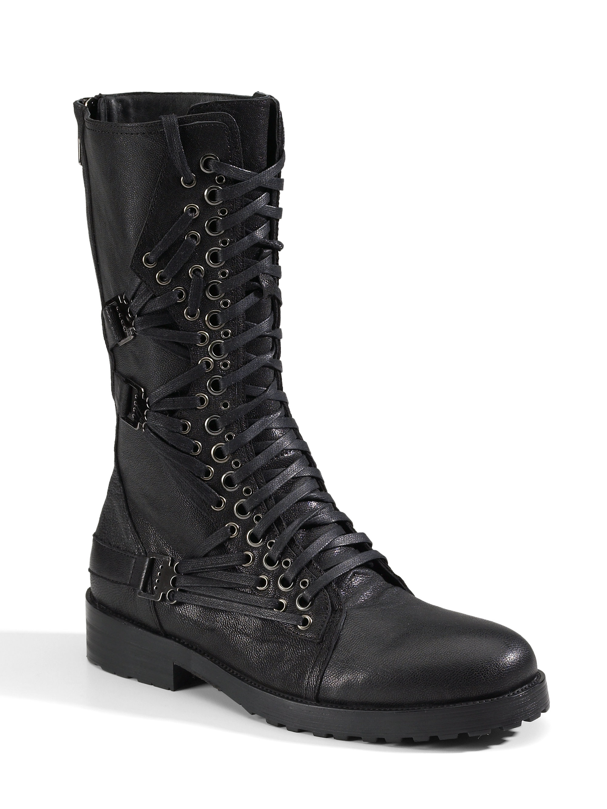 Rock & republic Nilo Tall Laceup Boots in Black for Men | Lyst