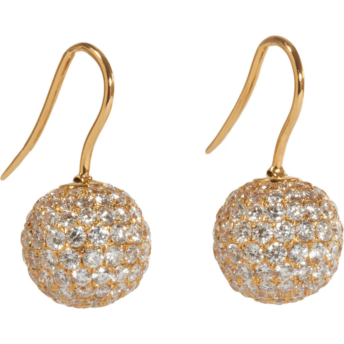 Shamballa Jewels Pave Diamond Gold Ball Drop Earrings In Yellow Lyst