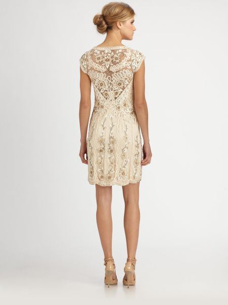 Sue Wong Embroidered Dress in Gold (champagne) | Lyst