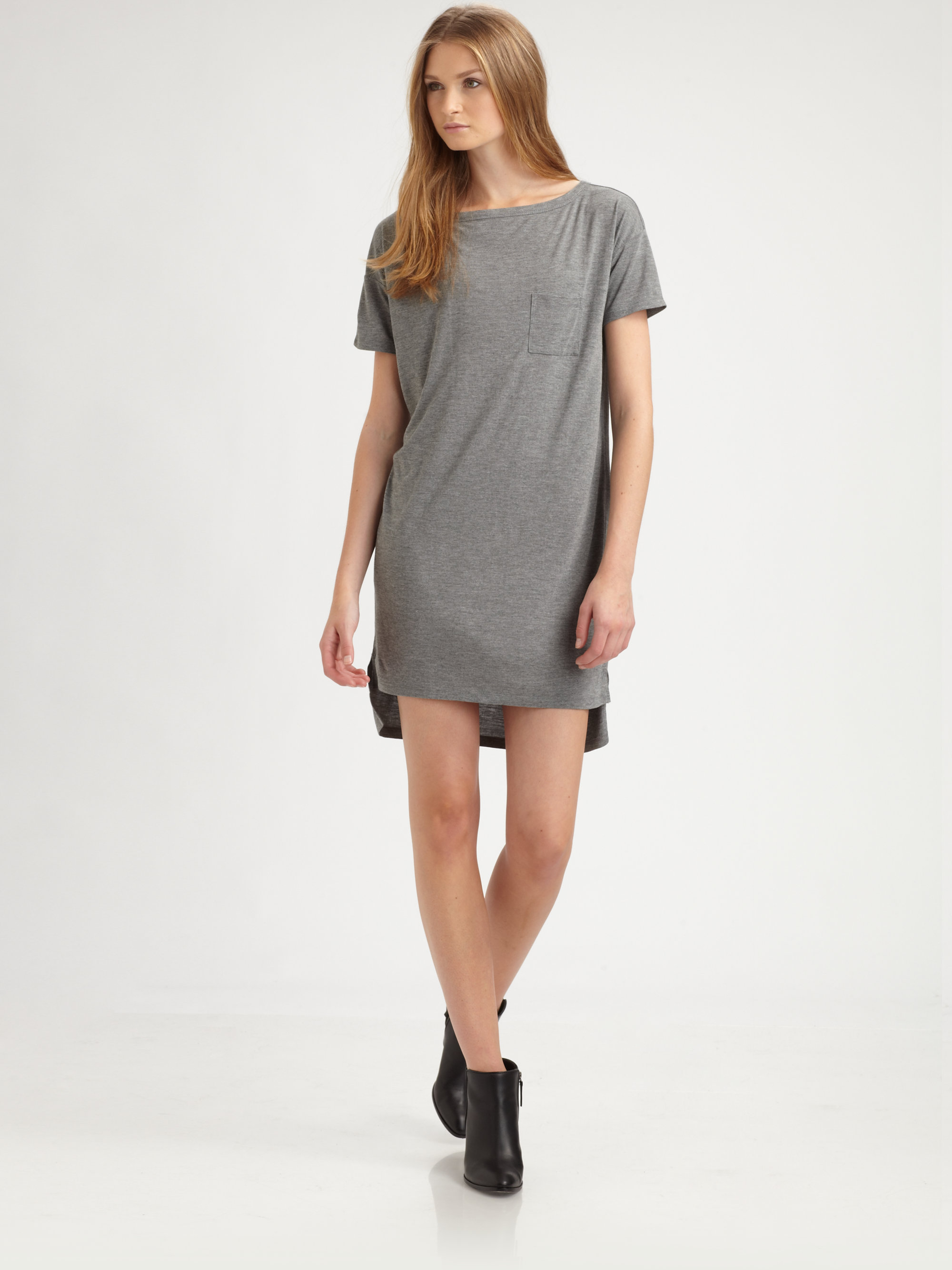 T by alexander wang classic boatneck dress in gray lyst for Alexander wang wedding dresses