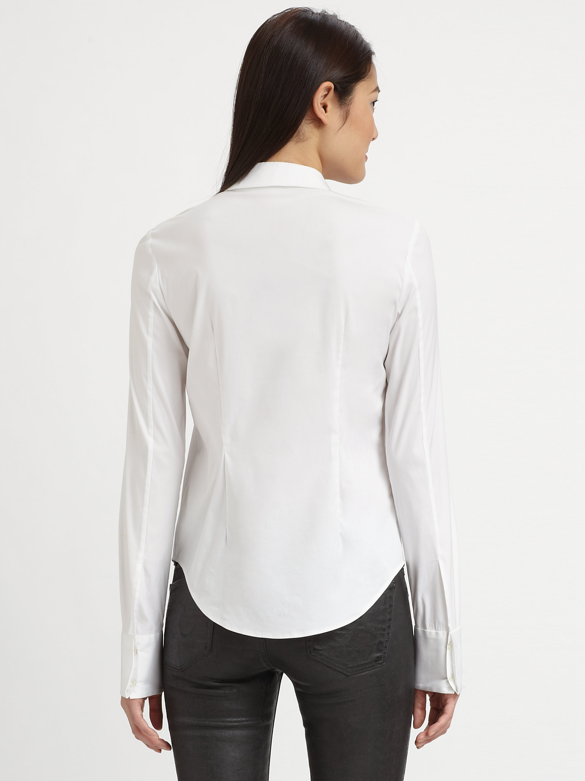 Theory Stretch Cotton Button Down Shirt In White Lyst