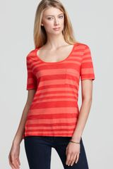 Three Dots Scoop Neck Pocket Tee - Lyst