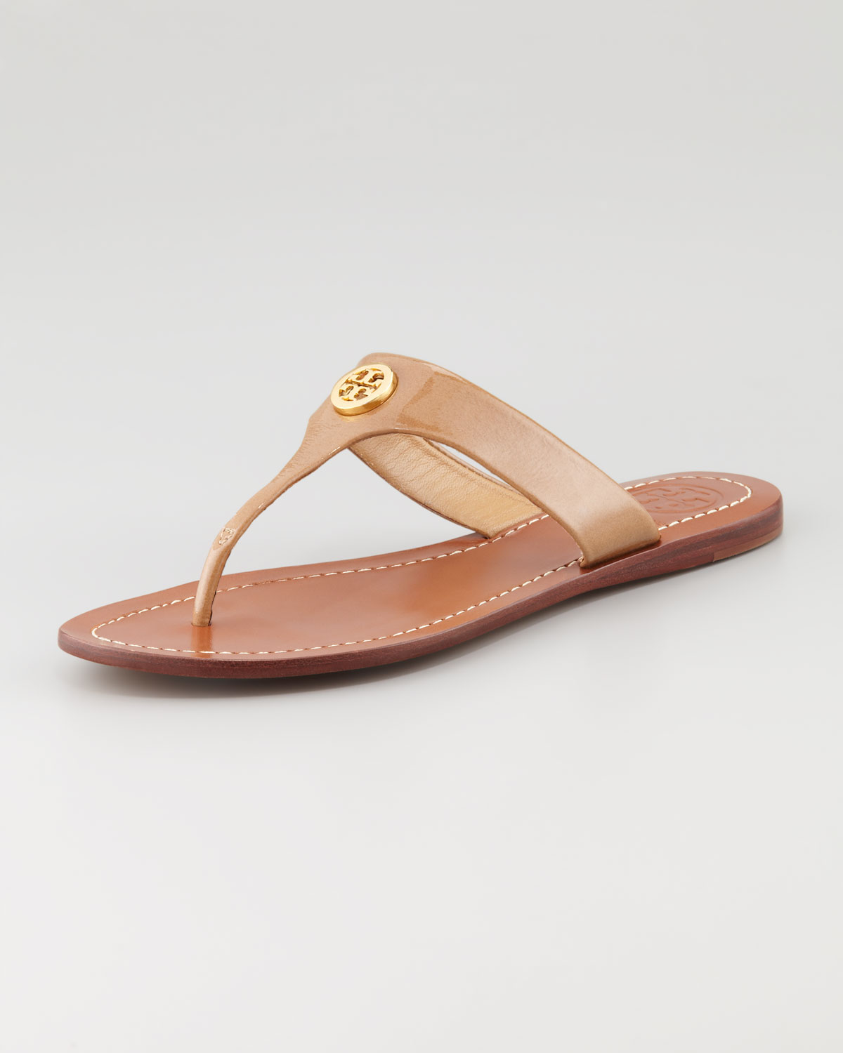 ac66ace30d1267 Lyst - Tory Burch Cameron Patent Logo Thong Sandal Sand in Brown