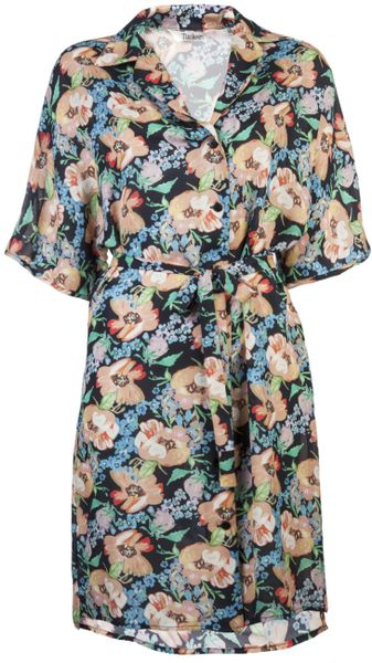 Tucker Wide Sleeve Shirtdress in Multicolor (multi)