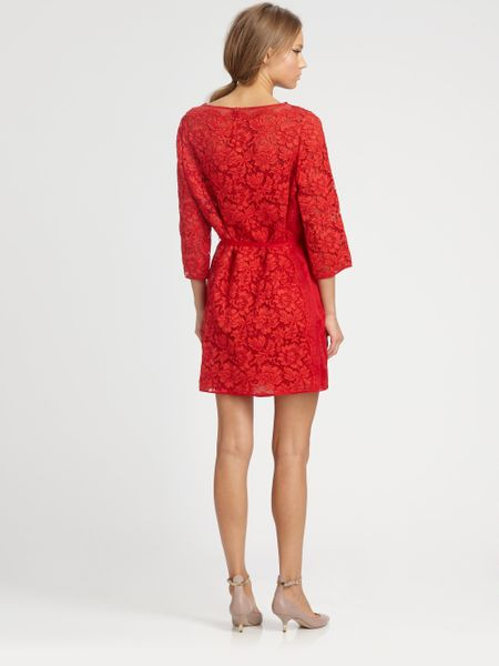 Valentino Lace Overlay Dress In Red Lyst