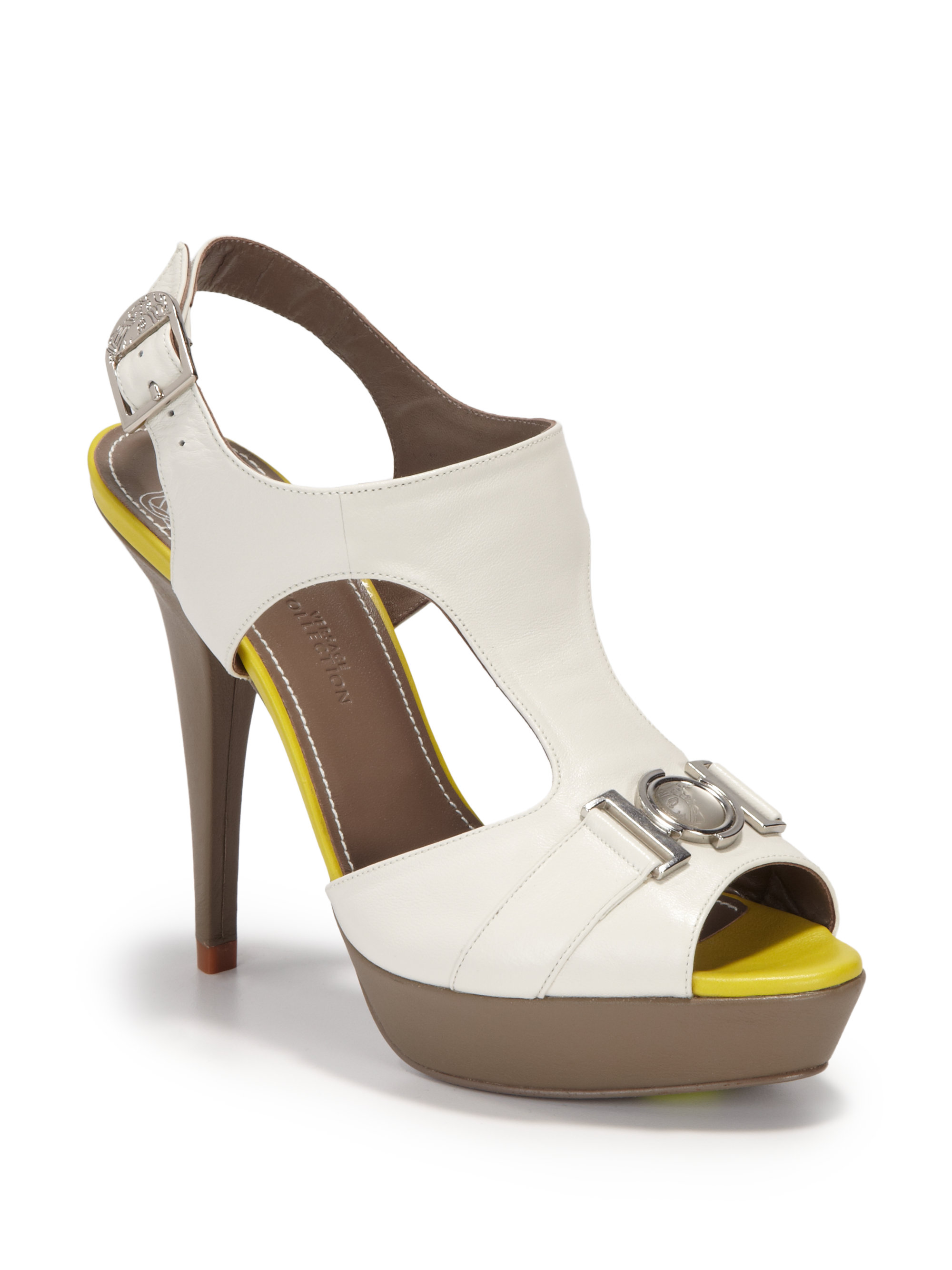 Versace Colorblock Cutout Leather Platform Sandals in White (yellow) | Lyst