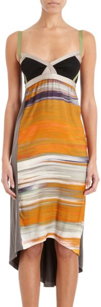 Vpl Insertion Midi Dress in Orange
