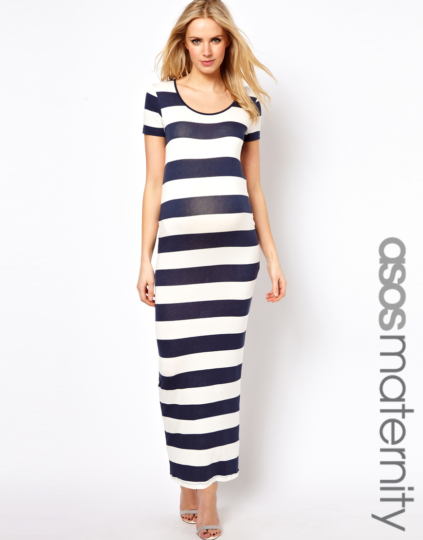 Asos Maxi Dress in Stripe in Blue - Lyst