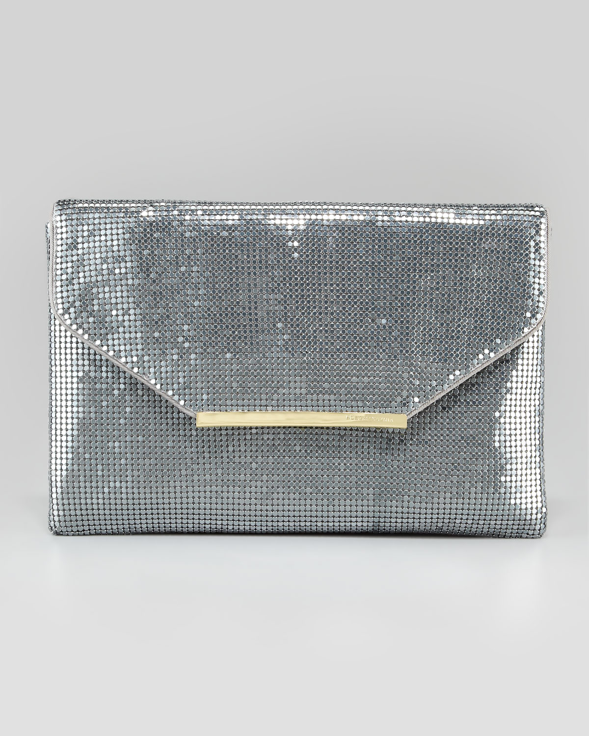 Bcbgmaxazria Harlow Metallic Chainmail Envelope Clutch Bag in ...