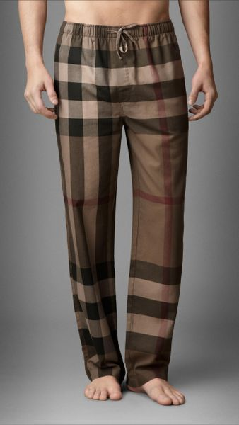 Burberry Check Cotton Pyjama Trousers In Brown For Men
