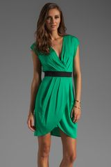 Catherine Malandrino V Neck Wrap Dress - Lyst