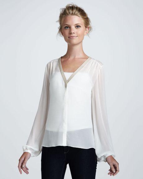 White Sheer Silk Blouse 9