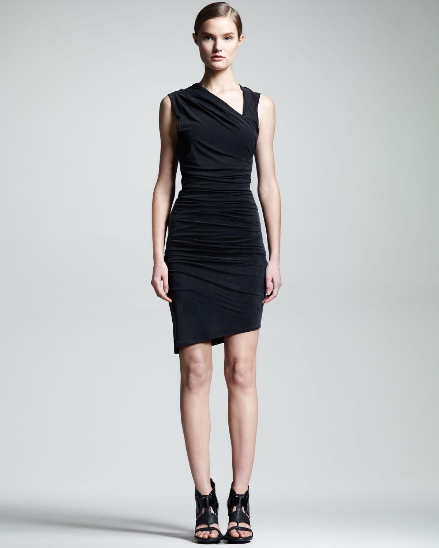 5095b41c1f Lyst - Helmut Ruched Asymmetric Dress in Black
