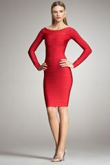 Hervé Léger Long-Sleeve Bandage Dress - Lyst