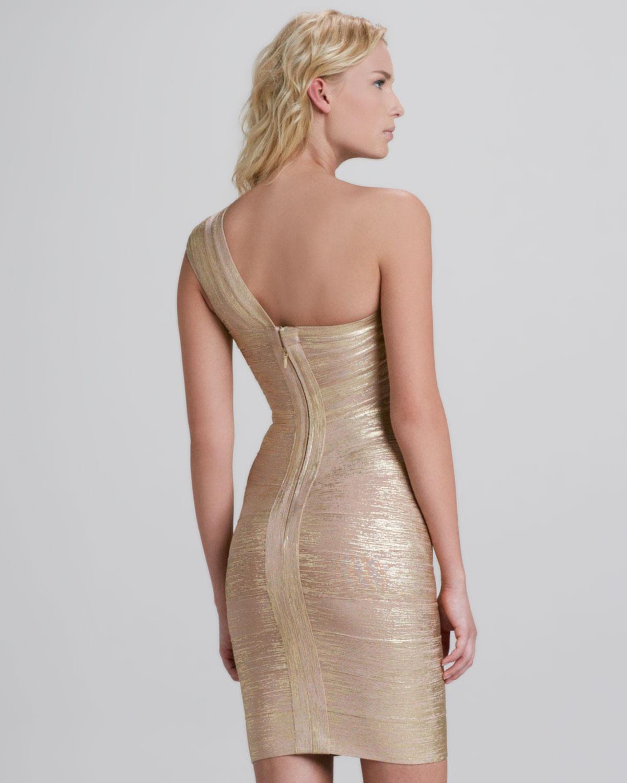 84a3d347506 Hervé Léger One-shoulder Metallic Bandage Dress in Metallic - Lyst