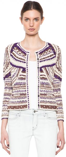 Isabel Marant Weston Lurex Cotton Crochet Cardigan - Lyst