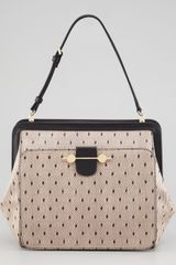 Jason Wu Daphne Lace Print Leather Satchel Bag Nude Black - Lyst