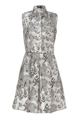 Jil Sander Navy Pearlebony Printed Silk Dress - Lyst