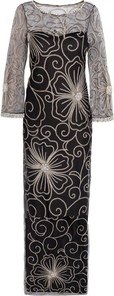 Marchesa Floral Embroidery Column Gown - Lyst