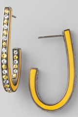 M.c.l By Matthew Campbell Laurenza Mixed Pave Sapphire J Hoop Earrings Yellow - Lyst