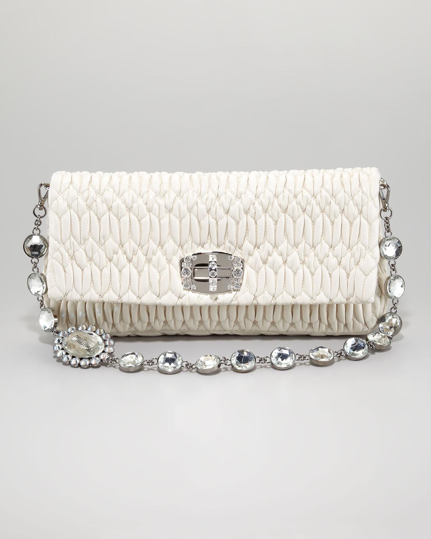 0690ec1395a Lyst - Miu Miu Ruched Napa Leather Crystal Bag Plaster in Natural