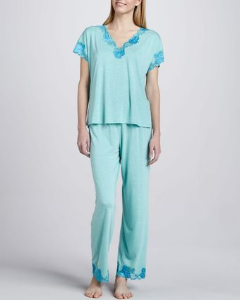 Natori Zen Lacetrim Pajamas Sea Glass - Lyst