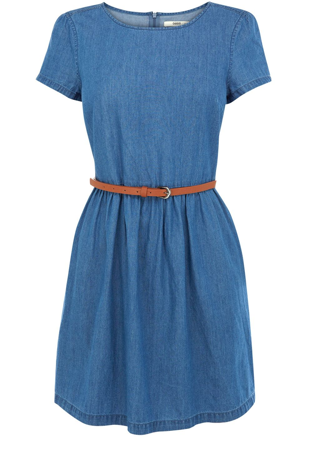Oasis hayley chambray dress in blue denim lyst for Chambray dress