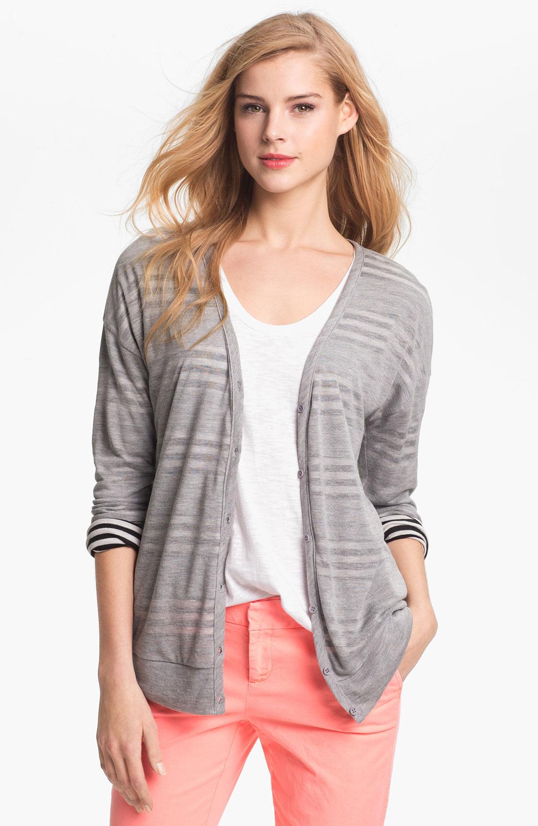 Pleione Contrast Stripe Cardigan In Gray Start Of Color