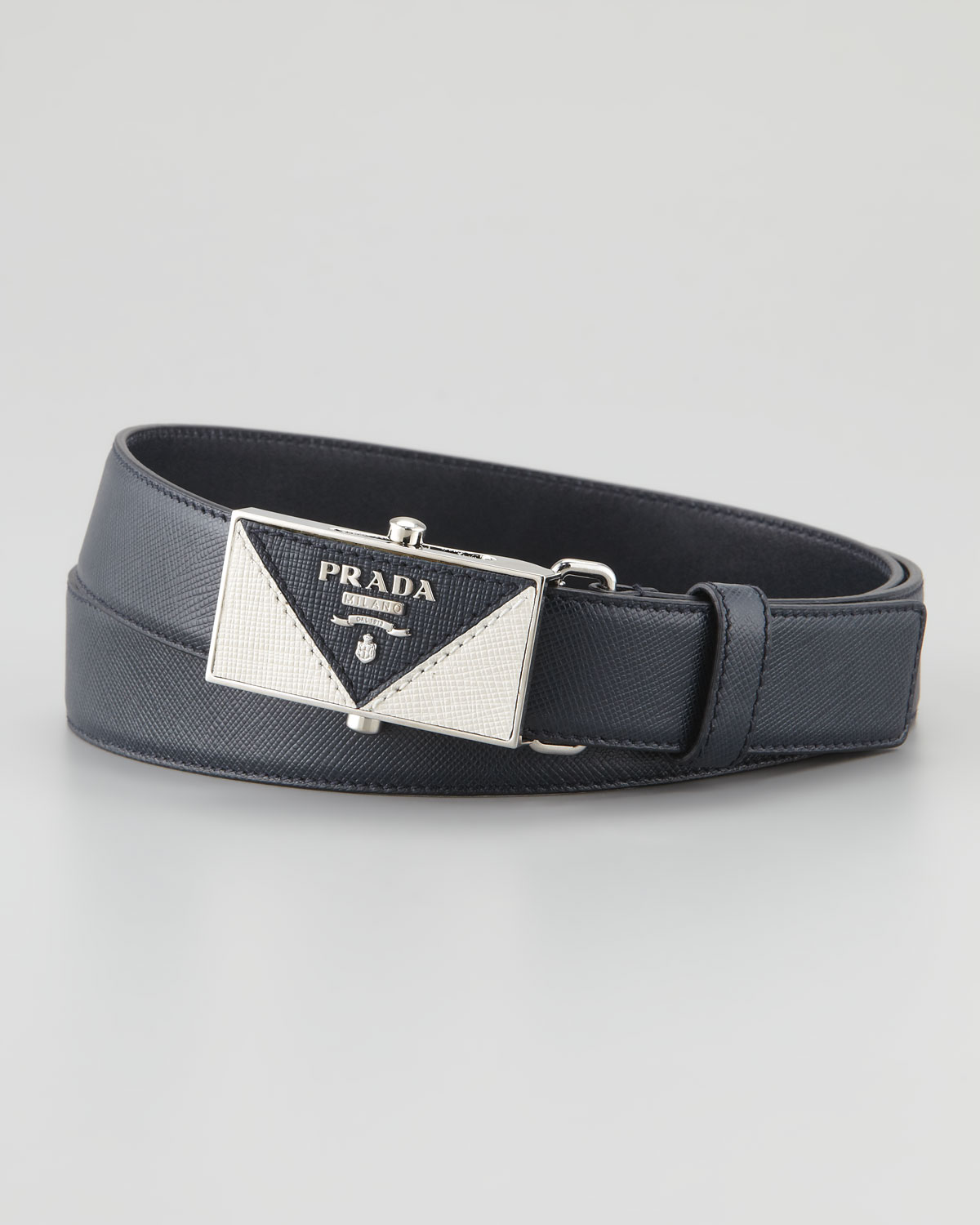 Prada Saffiano Plaque Belt in Blue for Men (90/36) | Lyst