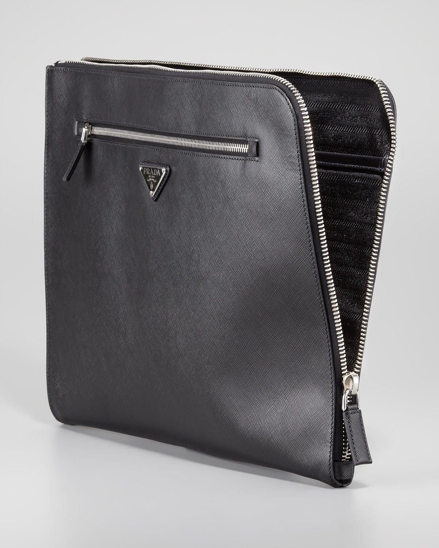 609ad187304c0 Lyst - Prada Saffiano Ziptop Portfolio in Black
