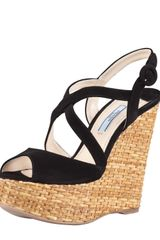 Prada Suede Crisscross Wicker Wedge Sandal Black - Lyst