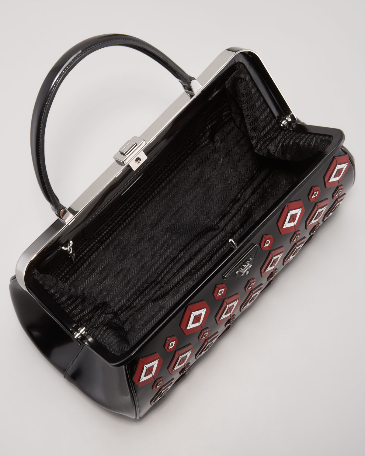 Prada Diamond Applique Doctor Bag in Black (black scarlet wht) | Lyst
