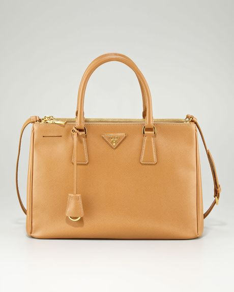 Prada Saffiano Lux Tote Bag in Brown (caramel) - Lyst