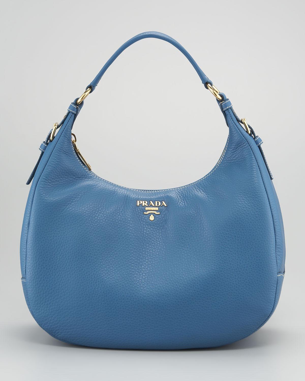 ad3c339885d8b Prada Vitello Daino Ziptop Hobo Bag in Blue - Lyst