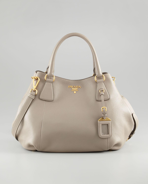Prada Daino Doublehandle Tote Bag in Gray (cuoio (tan)) | Lyst